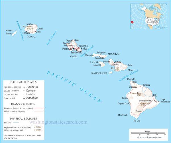 Detailed Map Of Hawaiian Islands