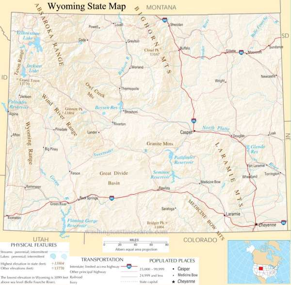 Wyoming State Map A large detailed map of Wyoming State USA