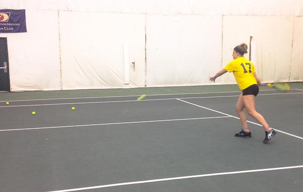 Nicole Valota playing tennis
