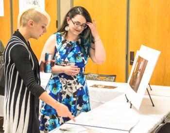 Shannon Vandervennet shows off her portfolio