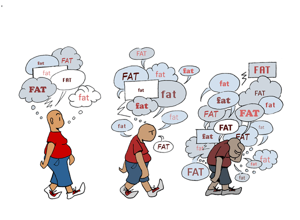 "illustrated walking person with ""fat"" thought bubbles"
