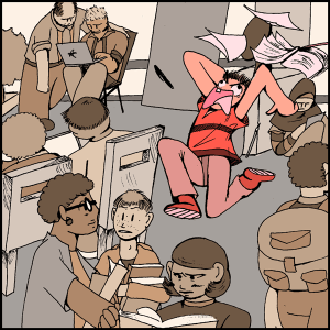 stressed person running through crowding room illustration