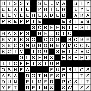 crossword puzzle solution