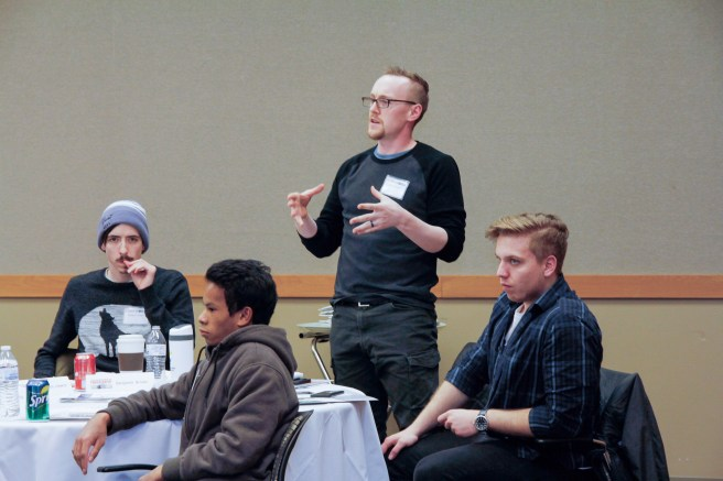 WCC videography student Steven St.John raise a question response to Garrett Sammons's speech.