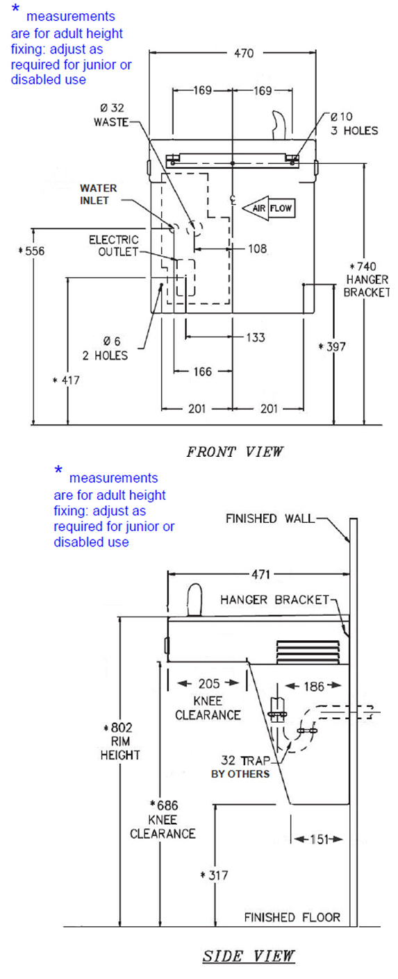 hight resolution of drawing of dda water cooler dimensions