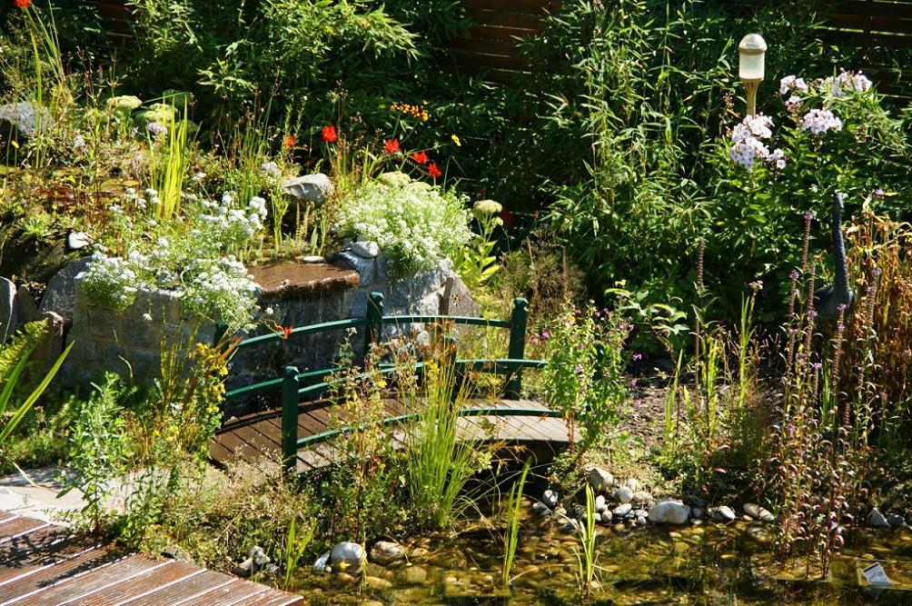 Gartenteich Mit Brucke Und Bachlauf Gartenteich mit teich
