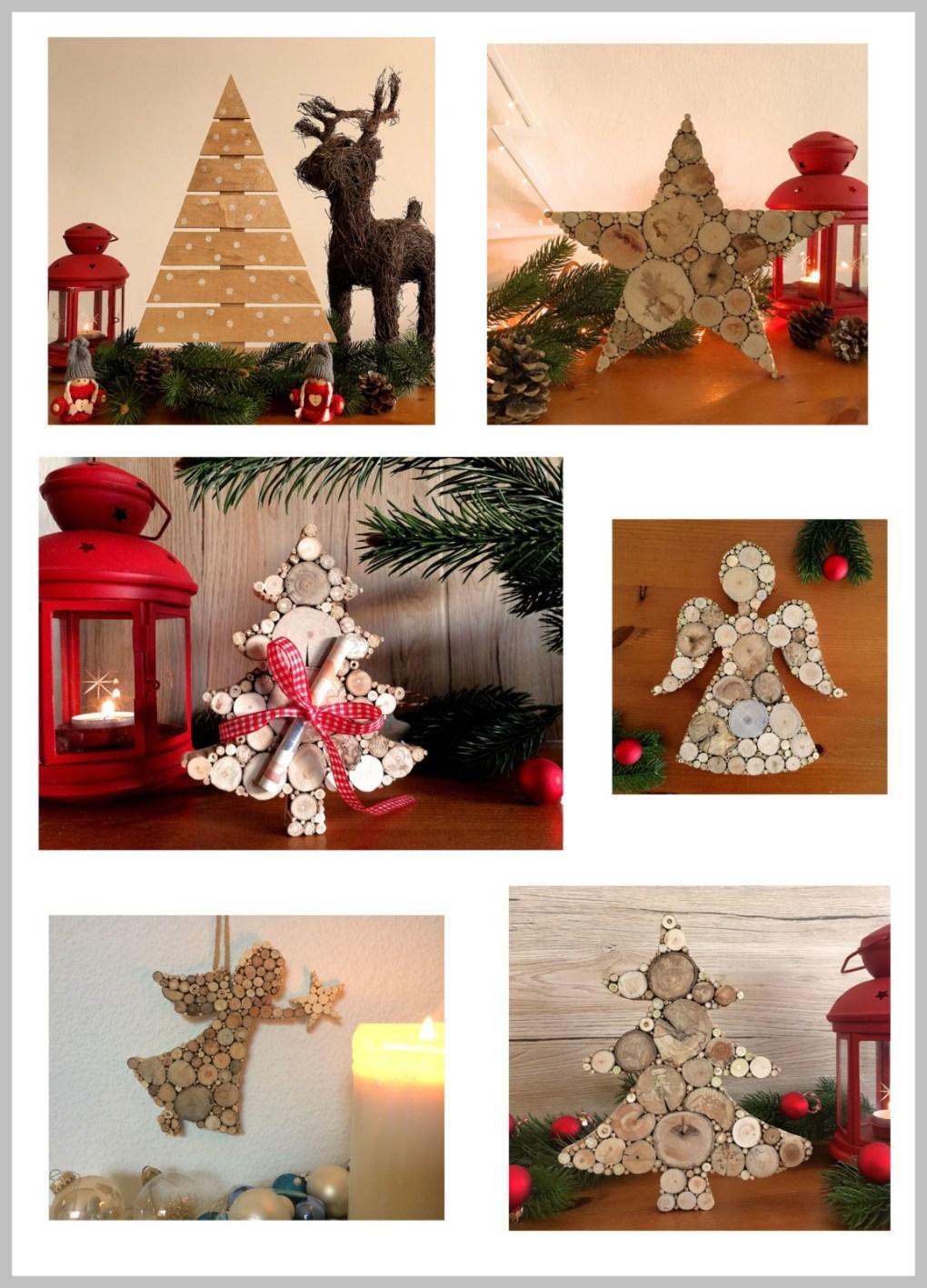 Collage Weihnachtsdeko aus Holz von WASSERundKUNST