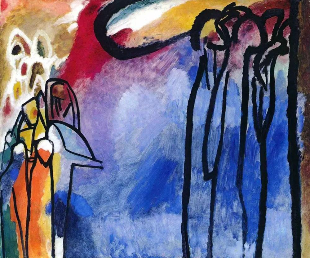 Painter Wassily Kandinsky. Painting. Improvisation 19. 1910 year