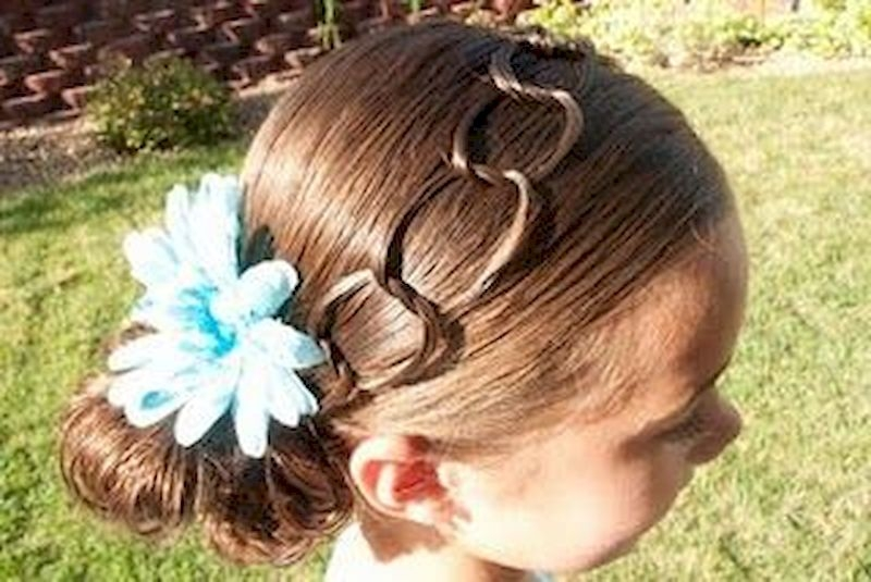 Braid hairstyles with flower shaped ribbons