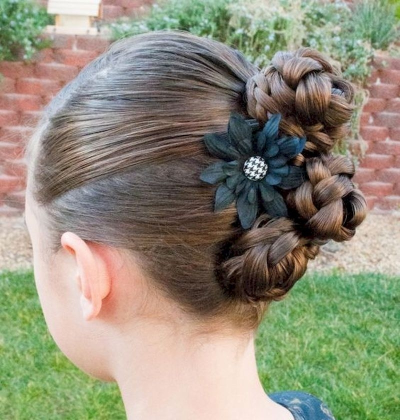 Updo braid hairstyle with three rolls