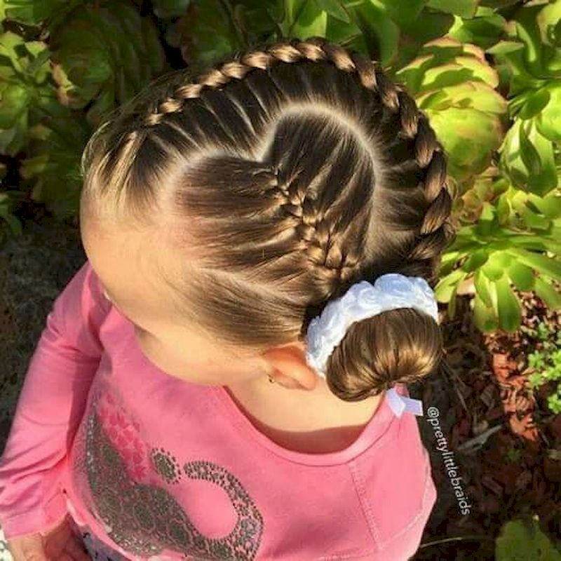 Braided hair style with heart shaped side