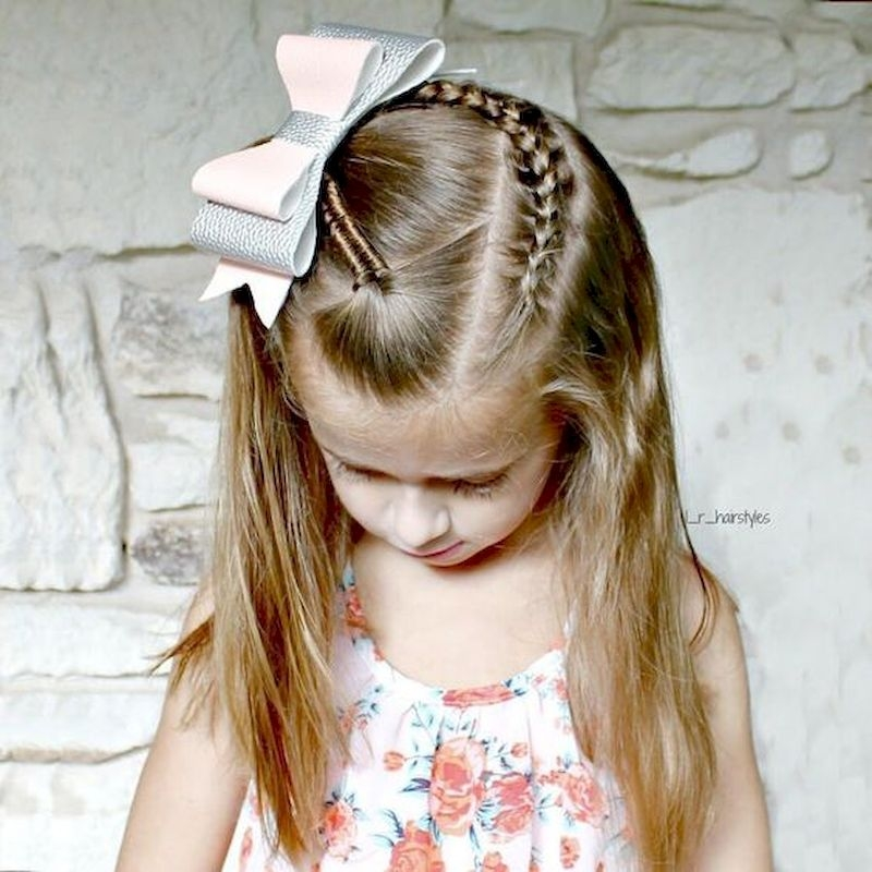 Braid hairstyles with white ribbon