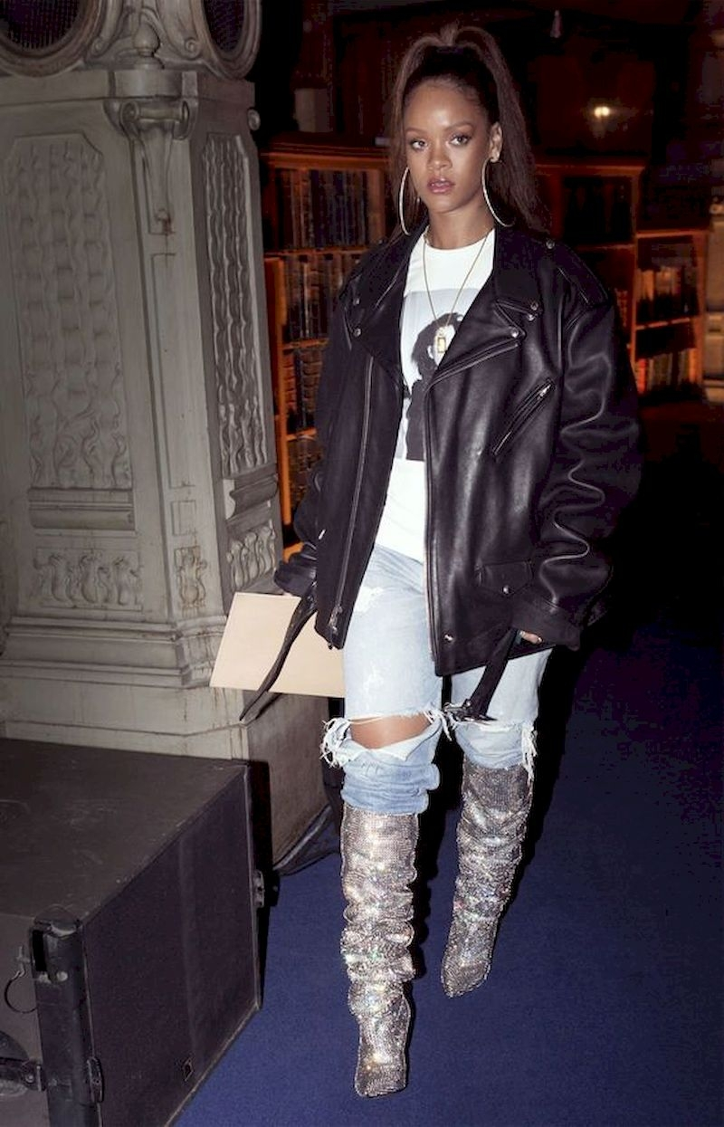 Casual clothes rihanna with leather jacket and glitter boots
