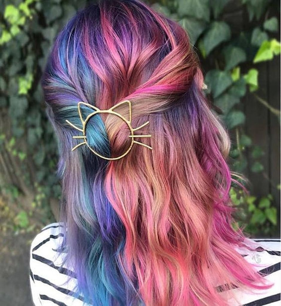 Colorful hairstyles with cat accessories design