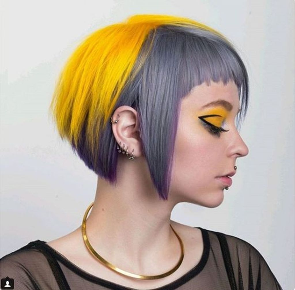 Short straight hairstyles with a combination of yellow hair color