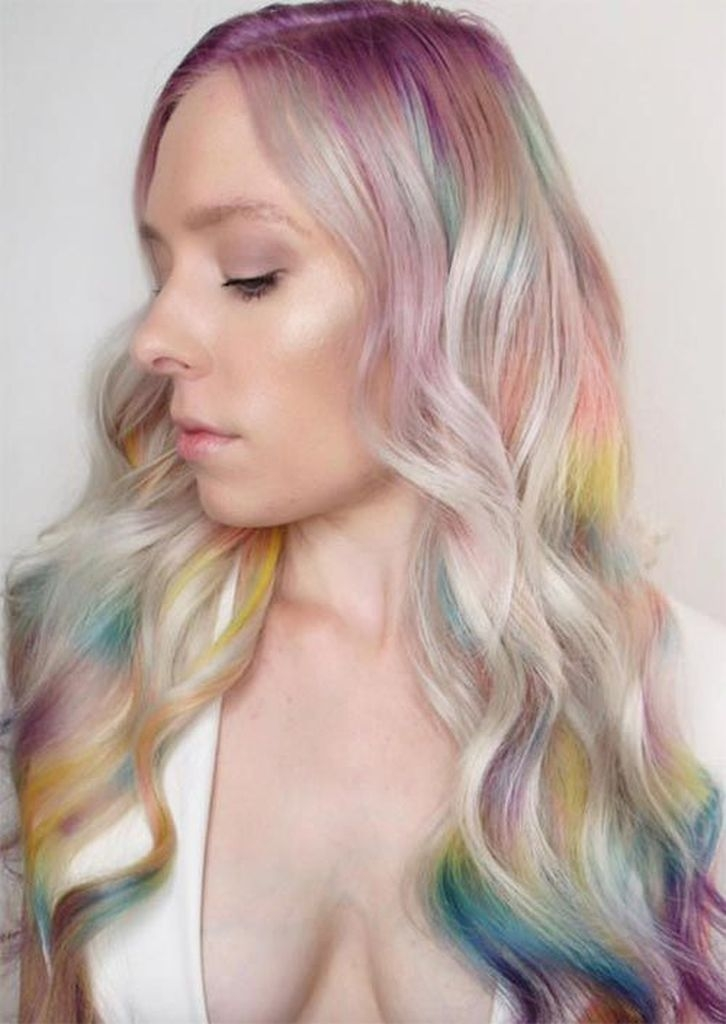 Spring hair for women with rainbow color hair