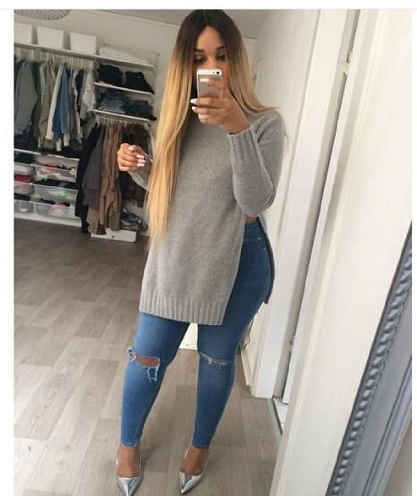 Spring outfit with grey sweater and jeans