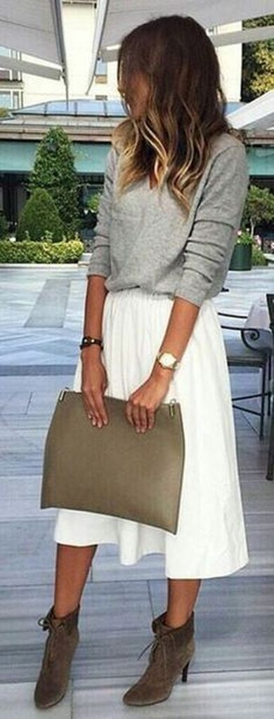 Spring outfit with grey sweater and white skirt