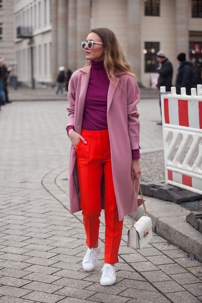 Spring outfit with purple coat and red pant