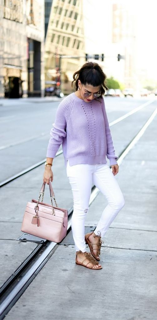 Spring outfit with purple sweater and white jeans