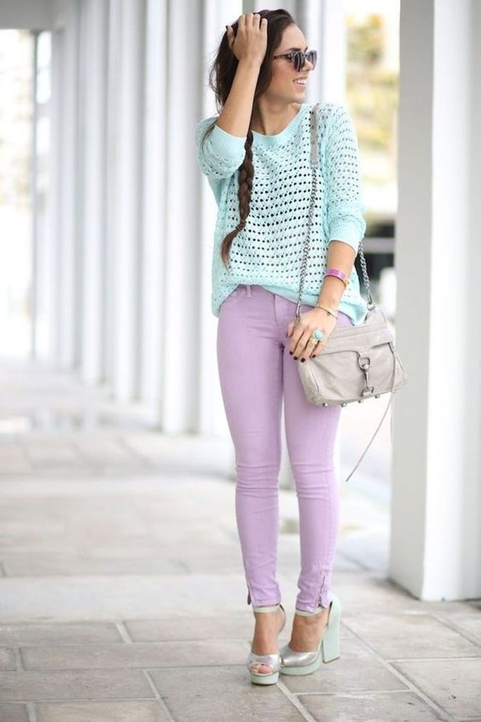 Spring outfit with purple jeans and blue sky sweater