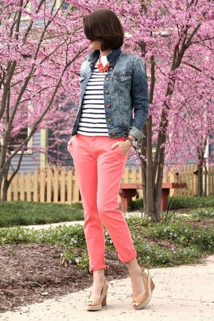 Spring outfit with orange pant and jacket denim