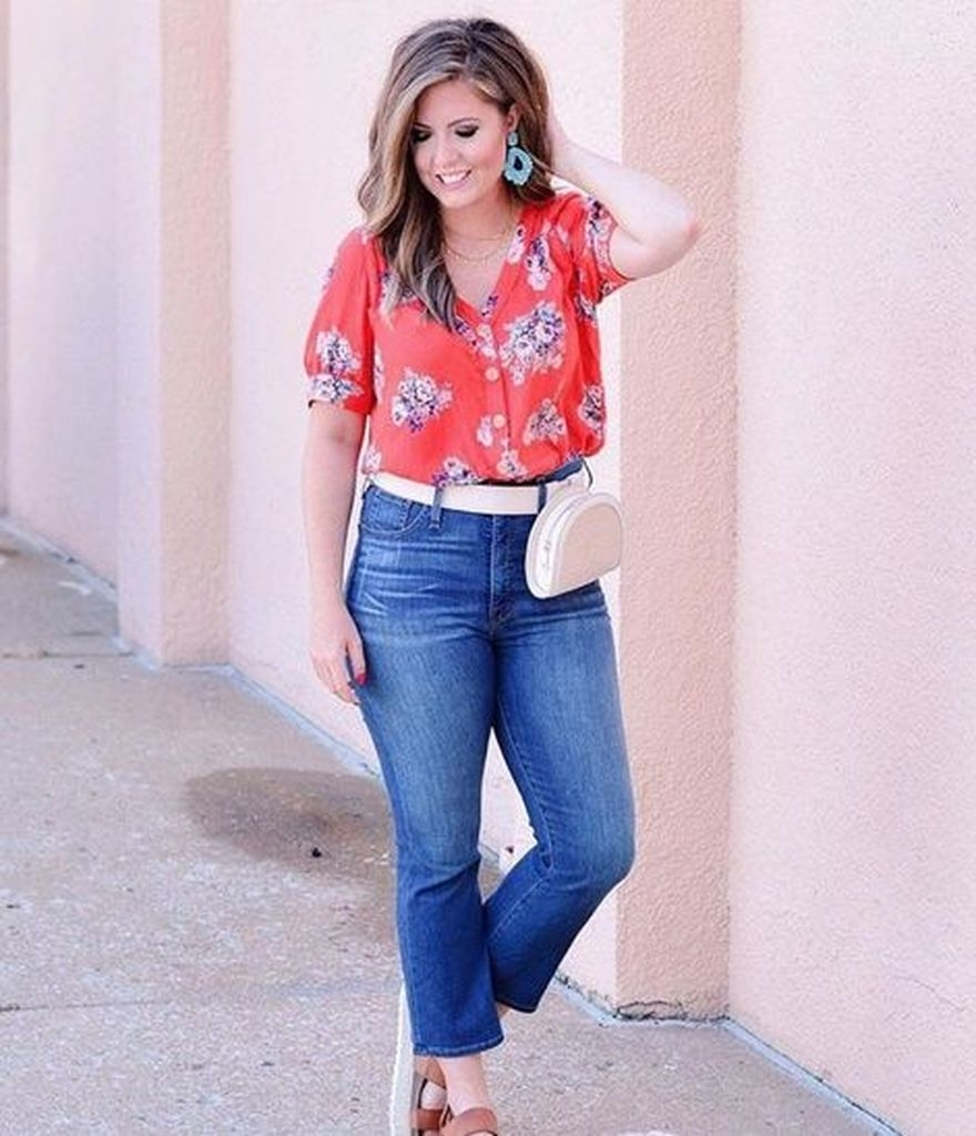 Spring outfit with red floral shirt