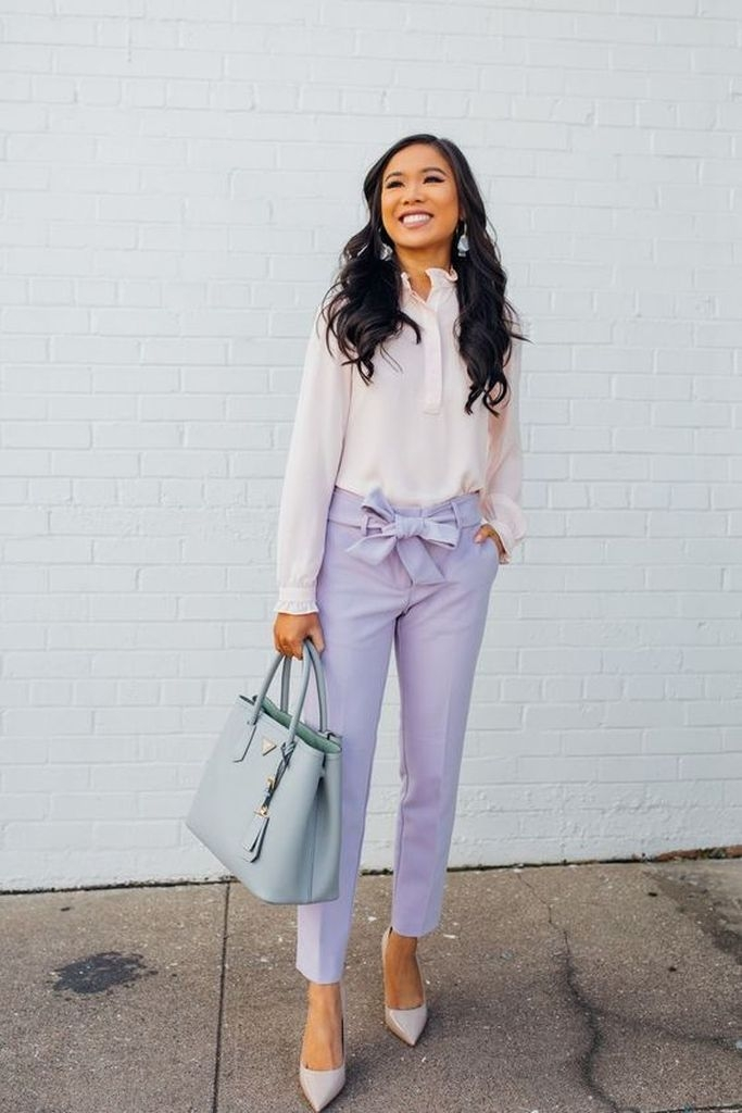 Spring outfit with white blouse and purple pant