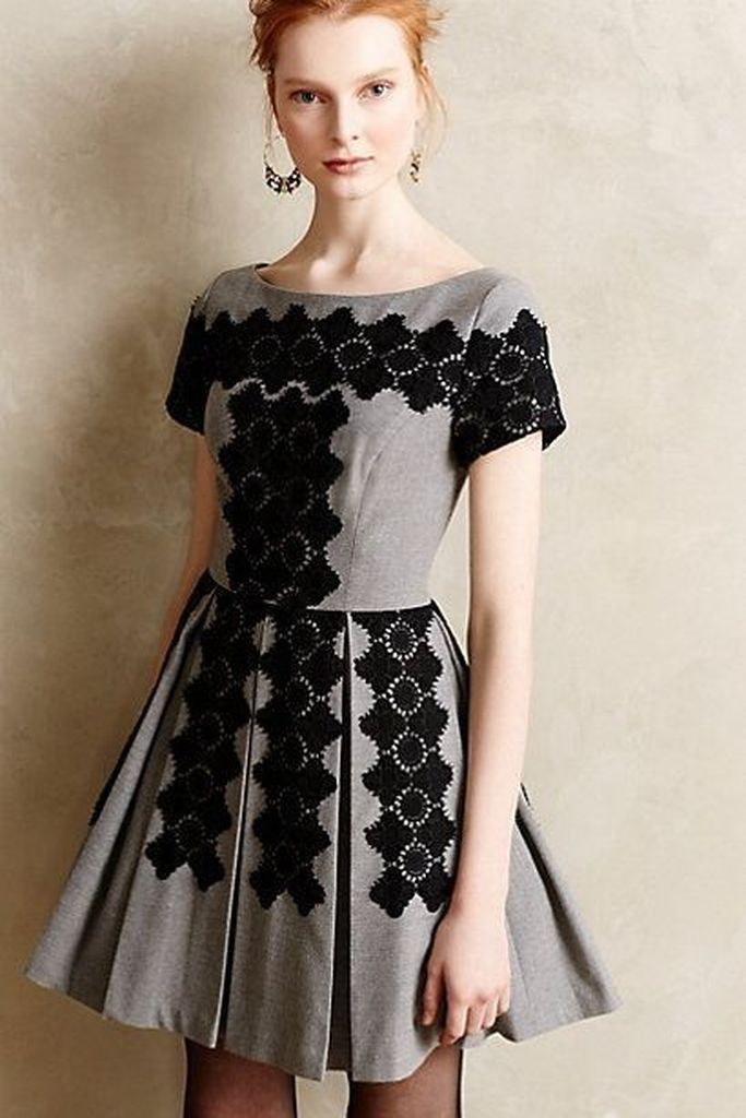 Embroidered black with grey dresses color