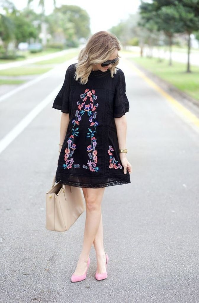 Embroidered dress for women with black color