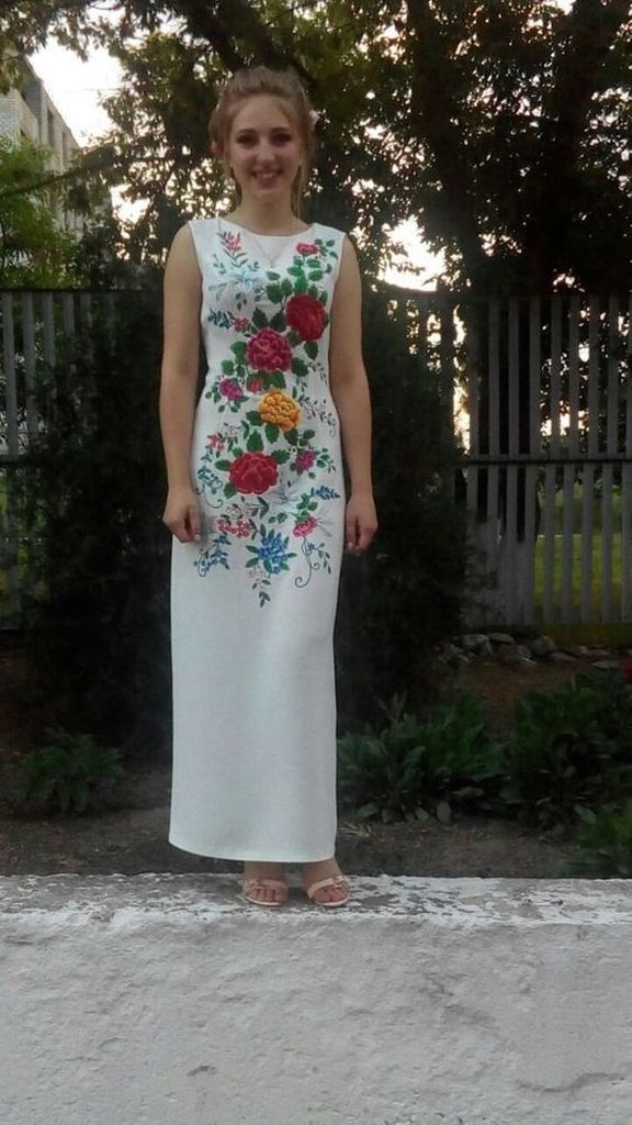 White dress with sunflowers design