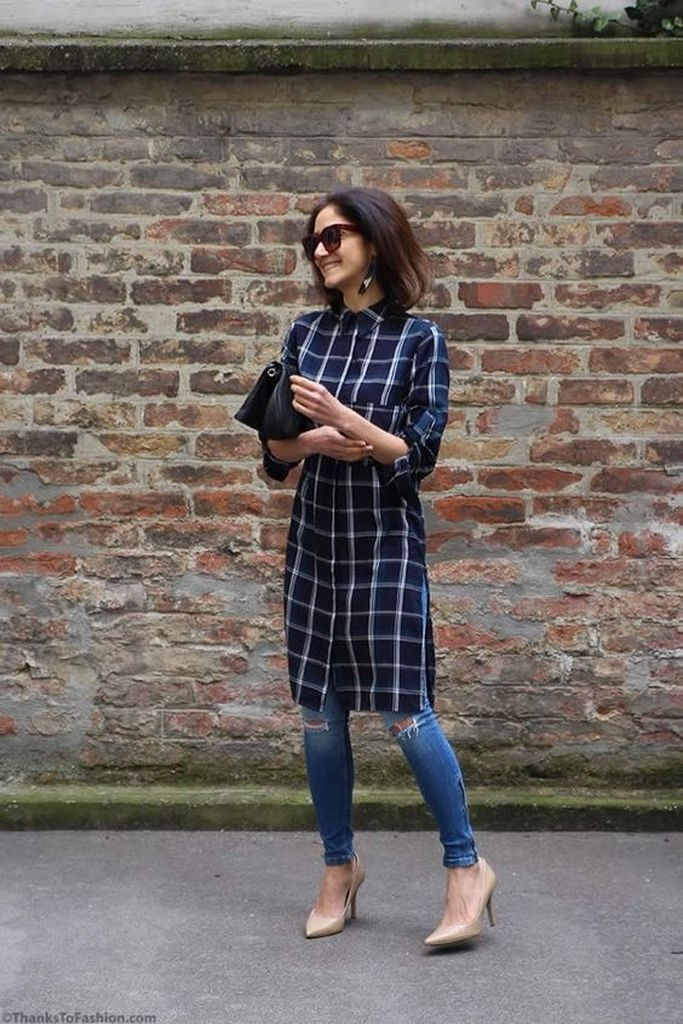 Plaid dresses with ripped jeans