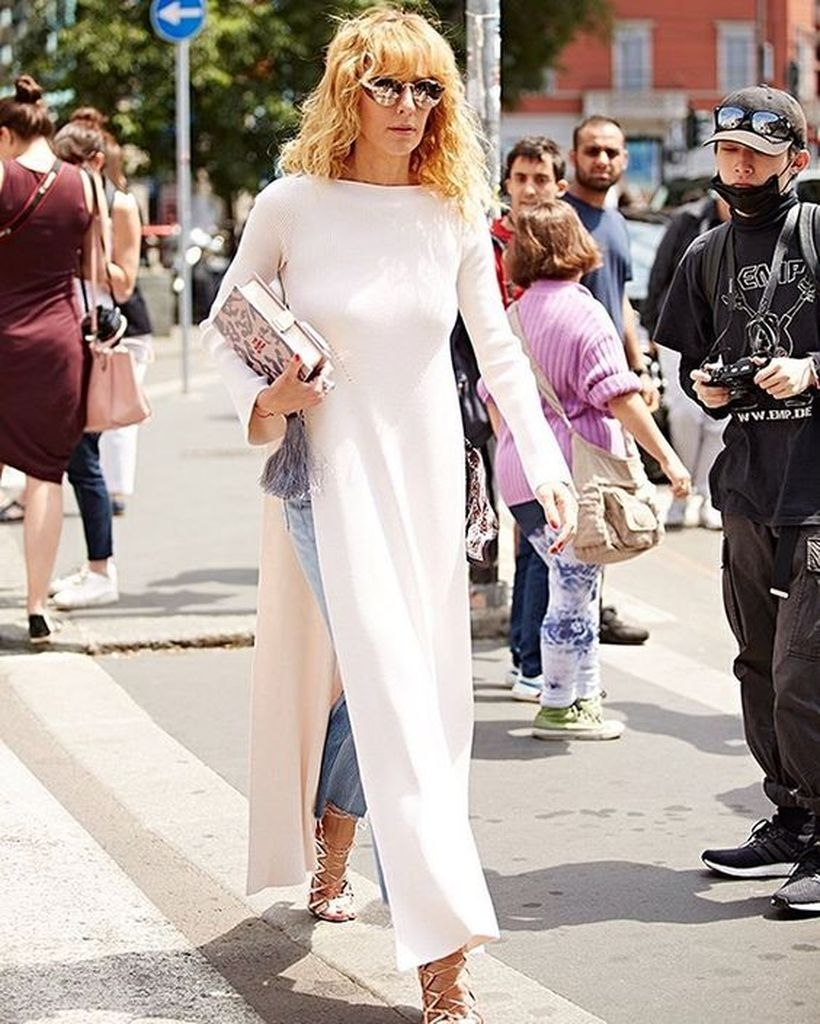 Long white dress over jeans