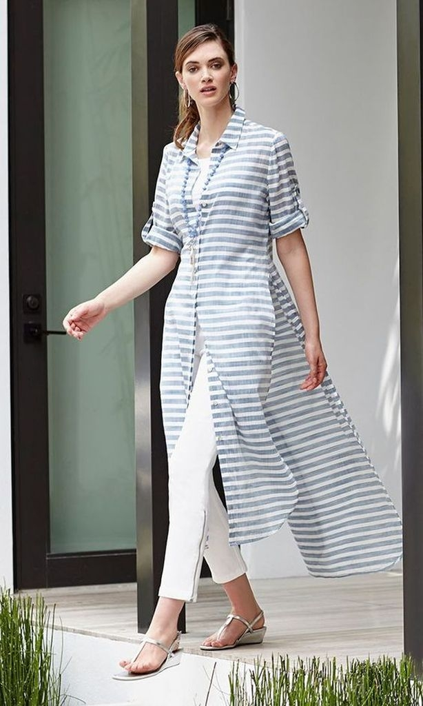 Striped dresses with white pant