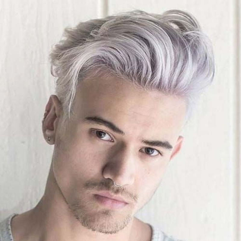Haircuts for men with thick white hair and swept hair