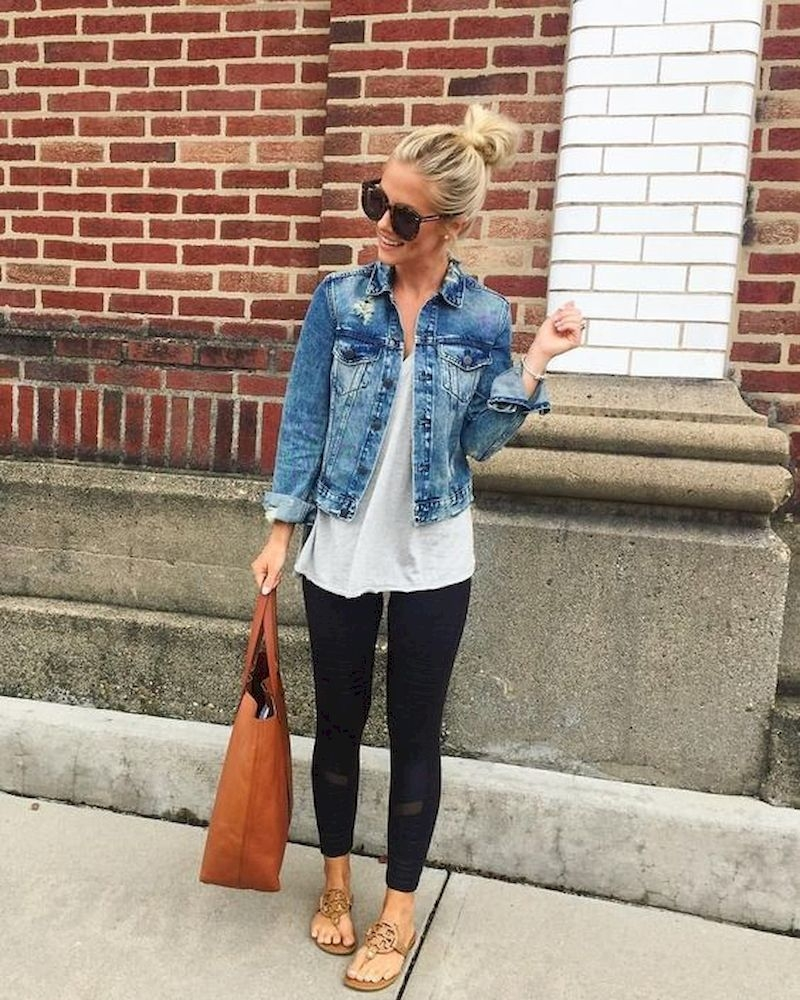 Spring outfit style with denim jacket