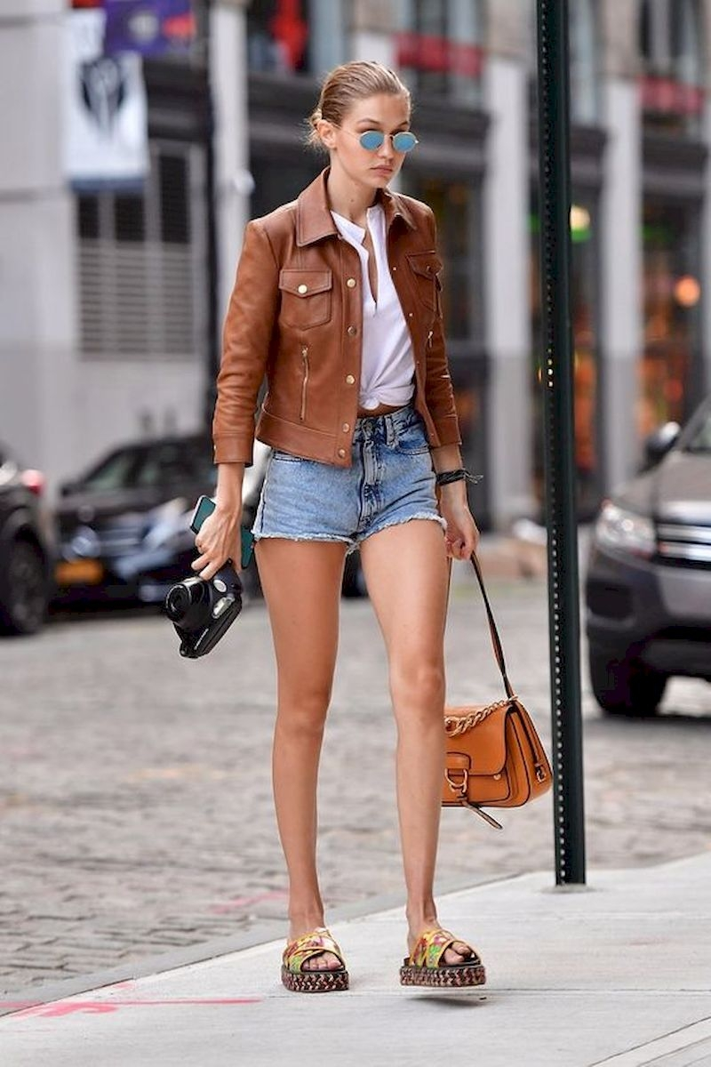 Spring outfit style with leather jacket