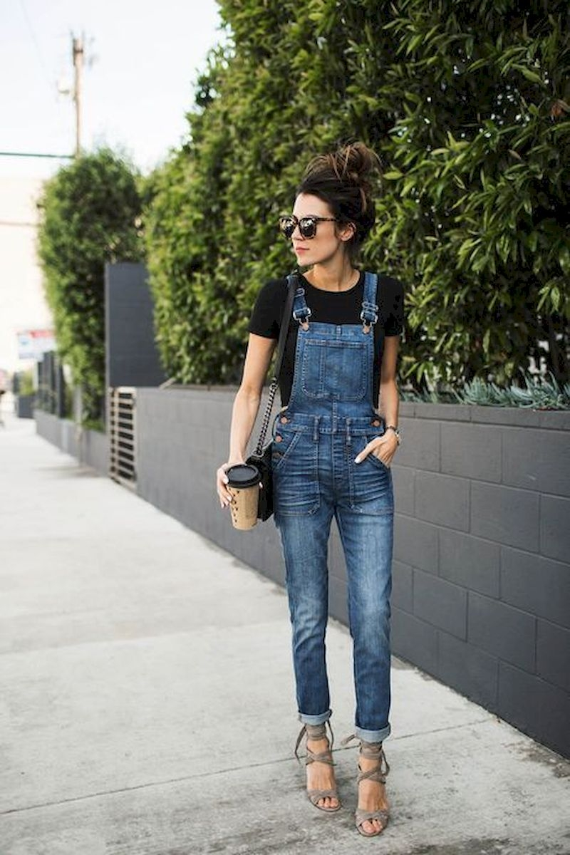 Spring outfit style with denim overall