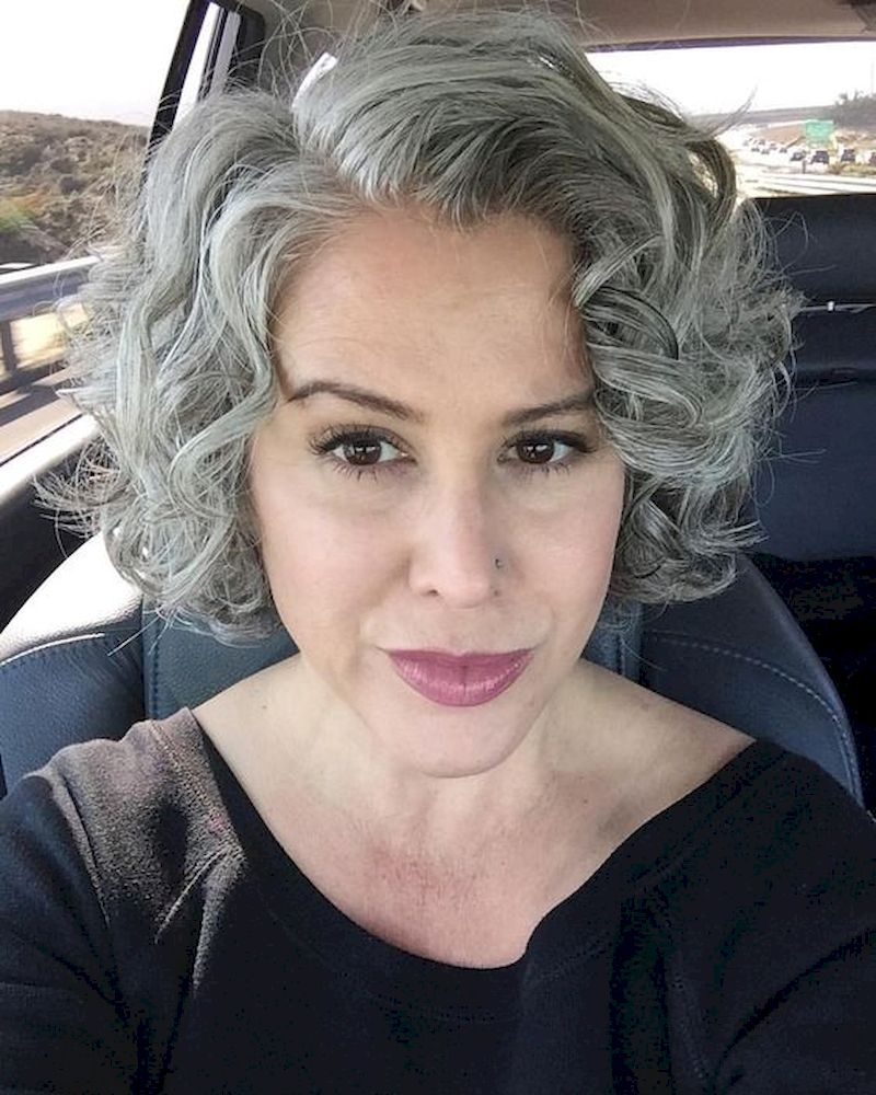 Women hairstyle with grey hair