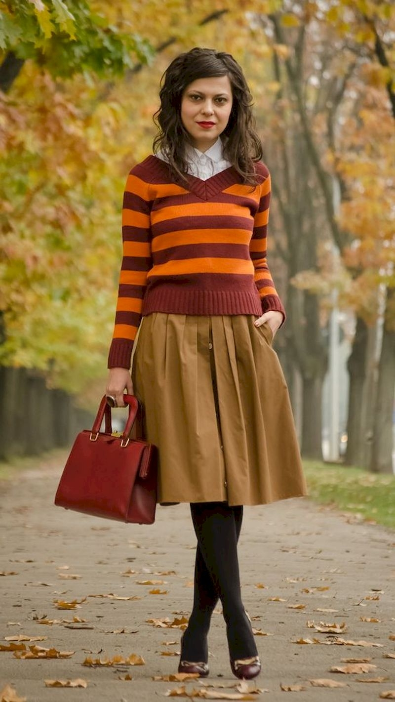Women outfit with short skirt and sweater for harry potter style