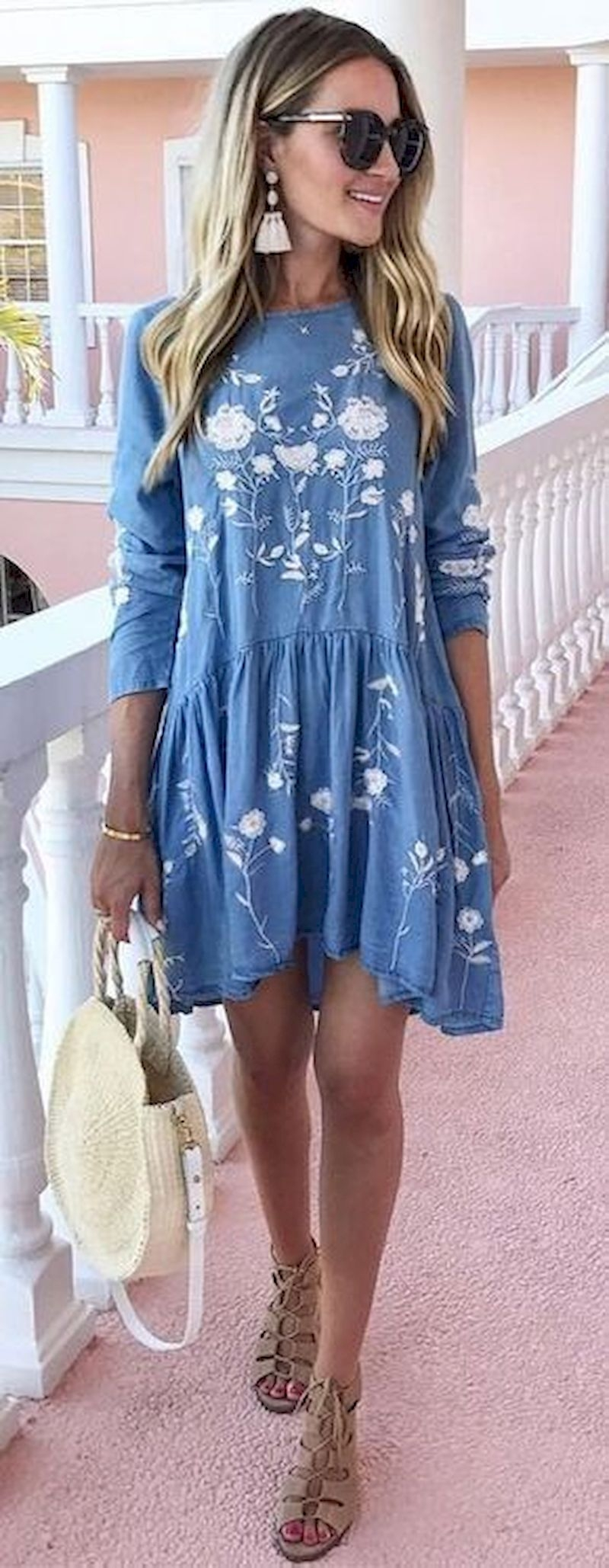 Spring outfit inspiration with blue floral dress