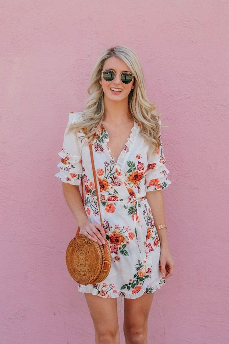 Spring outfit inspiration with floral wrap dress short