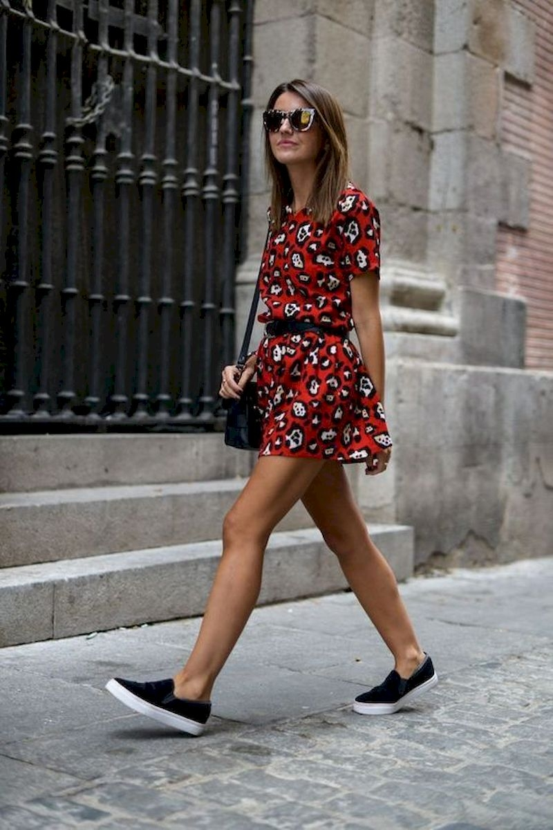 Spring outfit inspiration with red floral dress