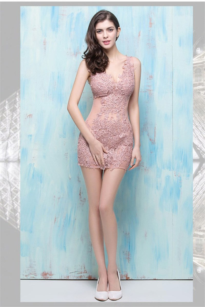 Sexy-v-neck-see-through-mini-dusty-rose-lace-night-out-club-prom-dress
