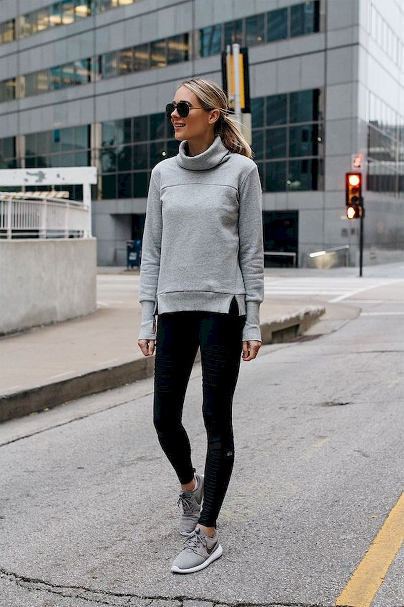 Sporty outfits for school with grey sweater and legging