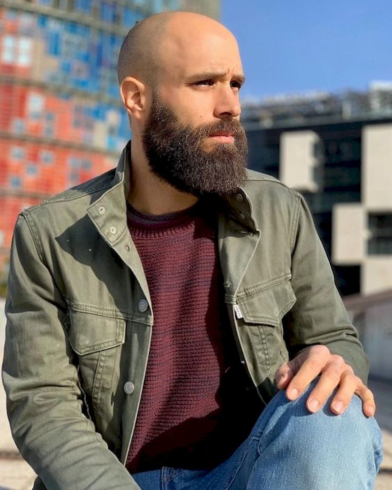 Hairstyles for bald men with beard thick