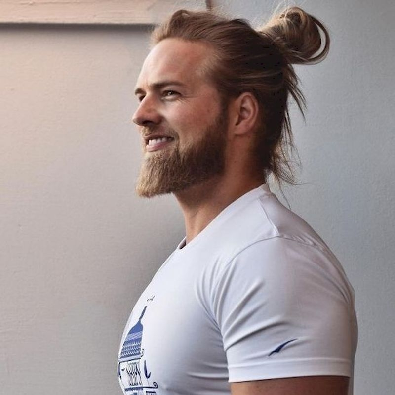 Long beard with long ponytail hair