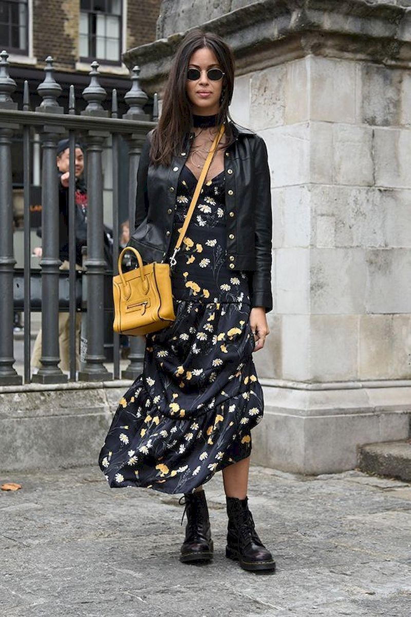 Spring outfit inspiration with black floral dress and leather jacket