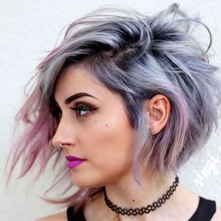 Trendy Short Haircut, Hair Short Silver Ombre