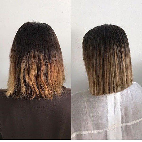 Balayage Short Dark Straight Hair